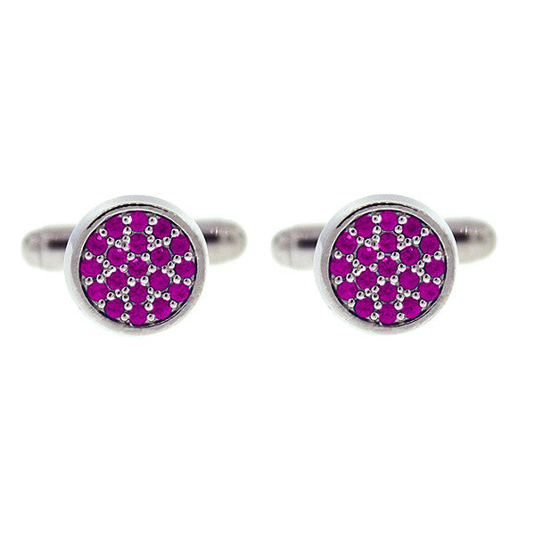 18k White Gold Pink Sapphire Cufflinks Redondo for men by Mander Jewelry