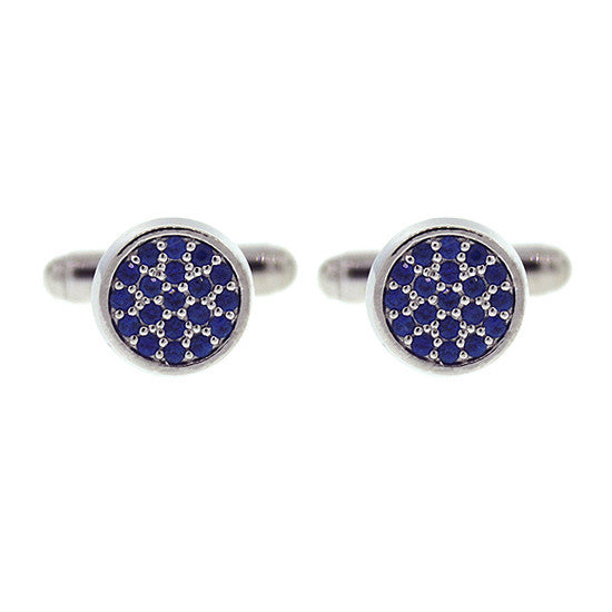 18k White Gold Redondo Blue Sapphire Cufflinks - Mander Jewelry