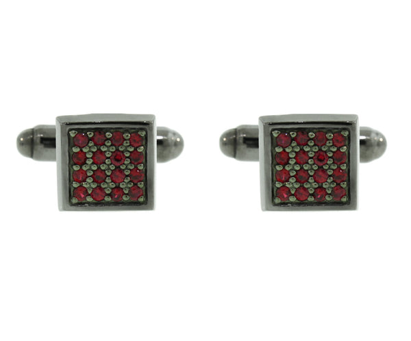 Blackened Silver Ruby Cufflinks Cuadrado - Mander Jewelry