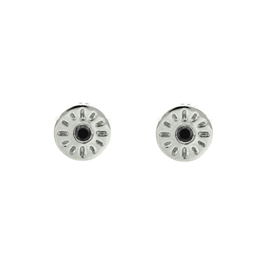 Silver Timeless Earrings Black Diamonds - Mander Jewelry