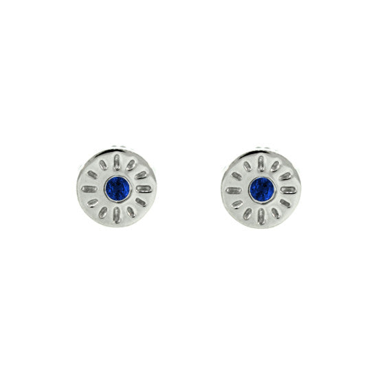 18k White Gold Blue Sapphire Earrings Timeless for women by Mander Jewelry.