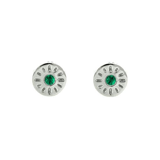 18k White Gold Emerald Earrings Timeless - Mander Jewelry