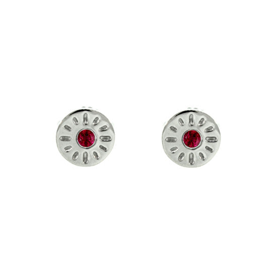 18k White Gold Ruby Earrings Timeless - Mander Jewelry