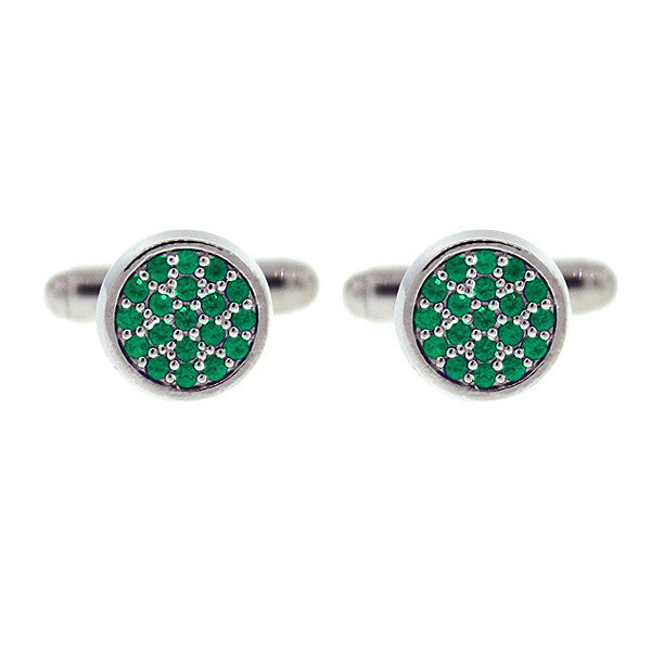 18k White Gold Emerald Cufflinks Redondo for men by Mander Jewelry