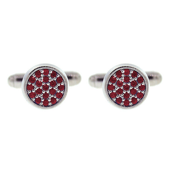 18k White Gold Redondo Cufflinks Ruby - Mander Jewelry