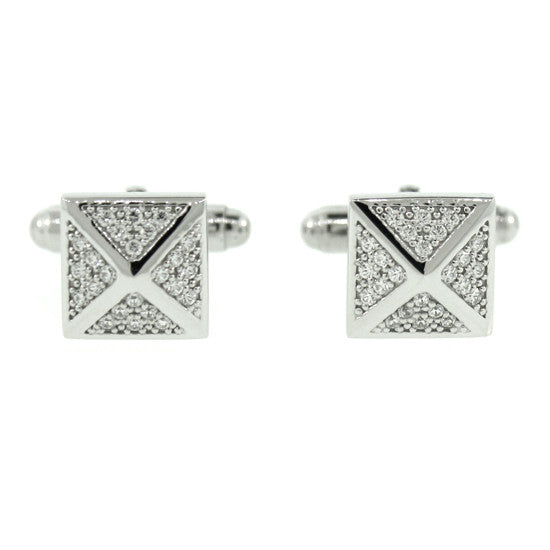 18k White Gold Diamond Cufflinks St Marks - Mander Jewelry