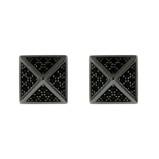 Blackened 18k Gold St Marks Earrings Black Diamonds - Mander Jewelry