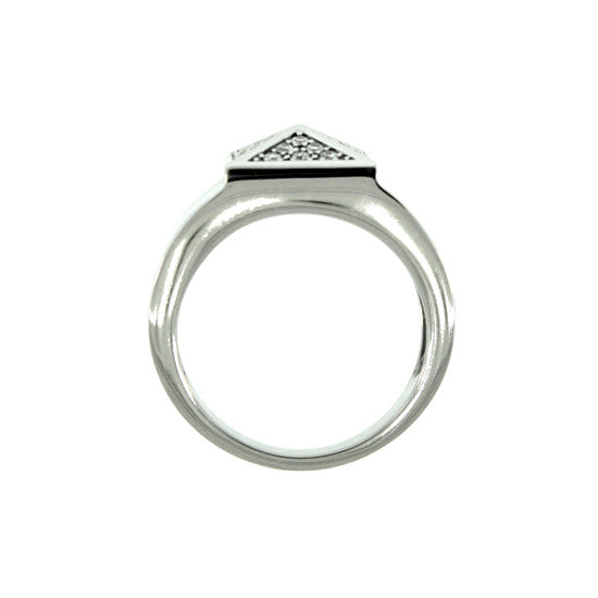 18k White Gold St Marks Bold Ring Diamonds - Mander Jewelry