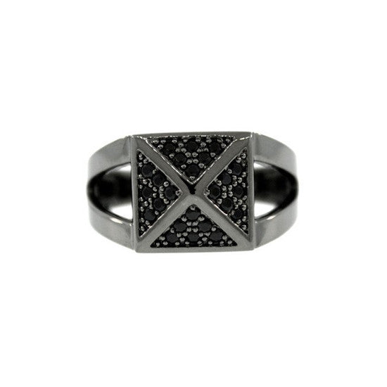 Blackened 18k Gold Black Diamond Ring St Marks - Mander Jewelry