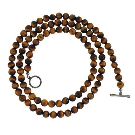 Tigers Eye 8mm Spirit Bead Necklace Silver Black Diamonds - Mander Jewelry