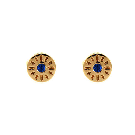 18k Rose Gold Blue Sapphire Earrings