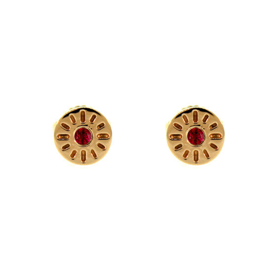 18k Rose Gold Ruby Earrings Timeless - Mander Jewelry
