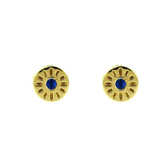 18k Yellow Gold Blue Sapphire Earrings Timeless for women by Mander Jewelry
