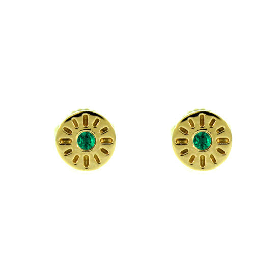 18k Yellow Gold Emerald Earrings Timeless for women by Mander Jewelry