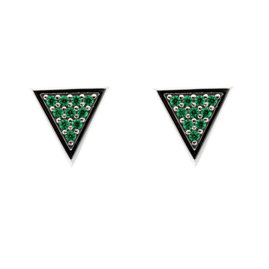 Silver Tres Puntos Earrings Emeralds