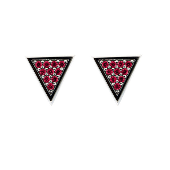 Silver Tres Puntos Earrings Ruby - Mander Jewelry