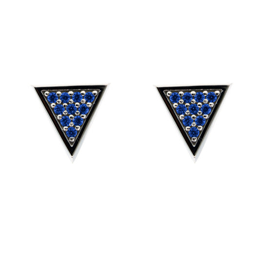 Silver Tres Puntos Earrings Blue Sapphires