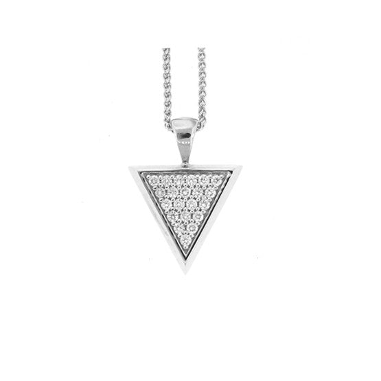 18k White Gold Large Tres Puntos Pendant Diamonds