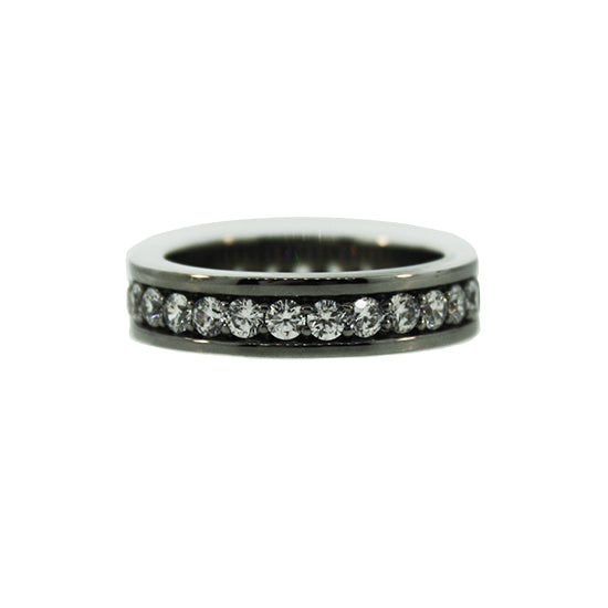 Blackened Silver White Sapphire Ring Merrick for Men by Mander Jewelry.