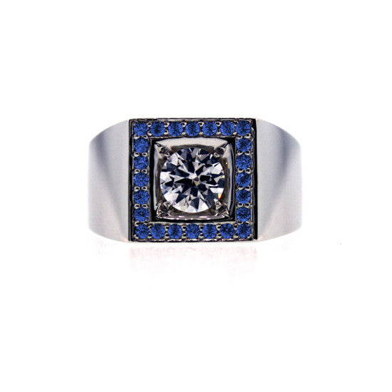 18k White Gold Jefe Ring White and Blue Sapphire - Mander Jewelry