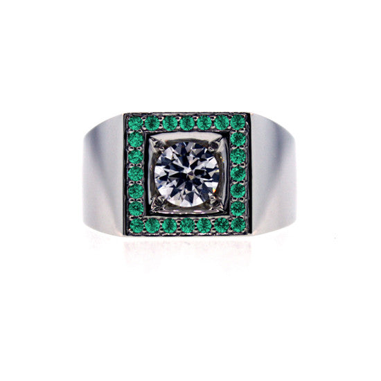 18k White Gold White Sapphire and Emeralds Ring Jefe for men by Mander Jewelry.