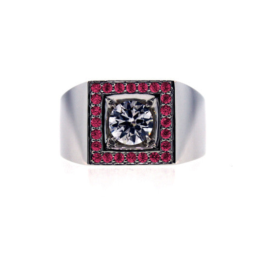 18k White Gold White Sapphire and Ruby Ring Jefe - Mander Jewelry