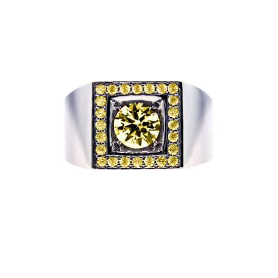 18k White Gold Jefe Ring Yellow Sapphire - Mander Jewelry