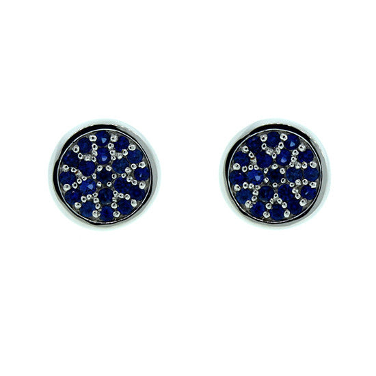 18k White Gold Blue Sapphire Earrings Redondo by Mander Jewelry
