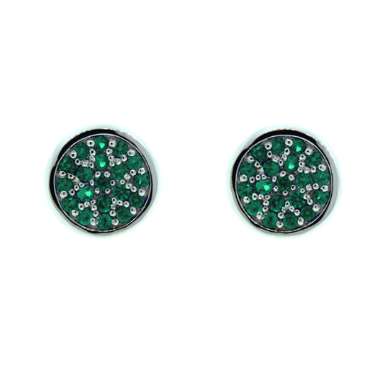 18k White Gold Emerald Earrings Redondo by Mander Jewelry