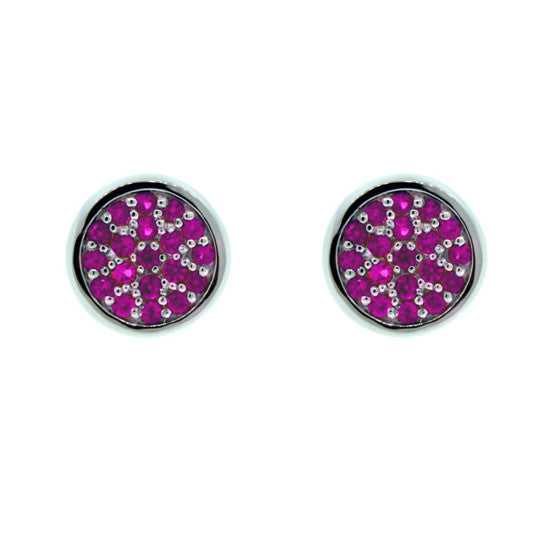 18k White Gold Pink Sapphire Earrings Redondo for women by Mander Jewelry