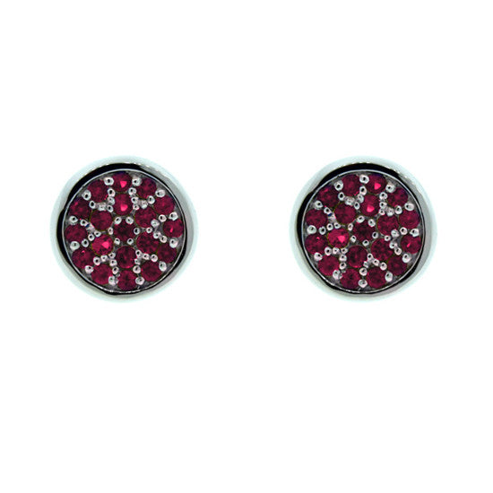 18k White Gold Redondo Earrings Ruby - Mander Jewelry