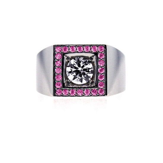 18k White Gold White Sapphire and Pink Sapphire Ring Jefe for men.