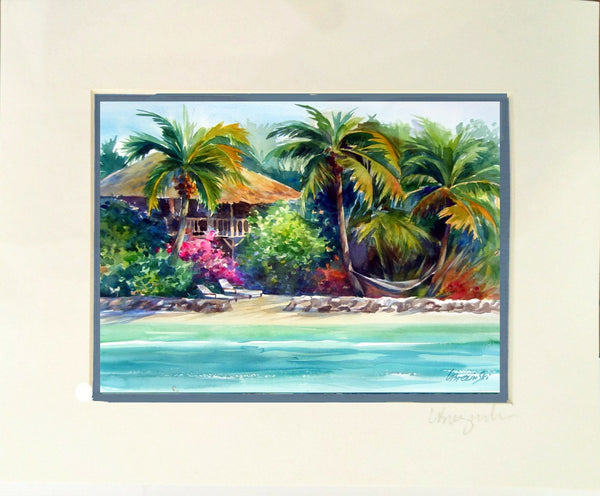Matted Print  8x10 BUNGALOW BEACH