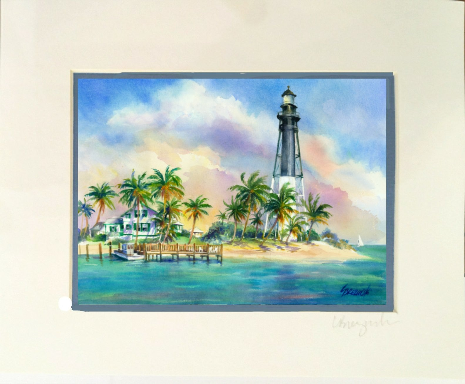 Matted Print Hillsboro Lighthouse Lois Brezinski Artworks