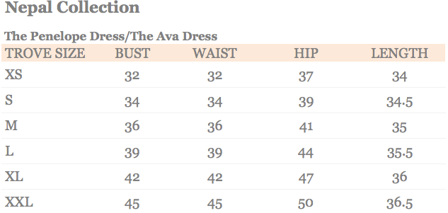 The Penelope Dress and The Ava Dress Size Chart