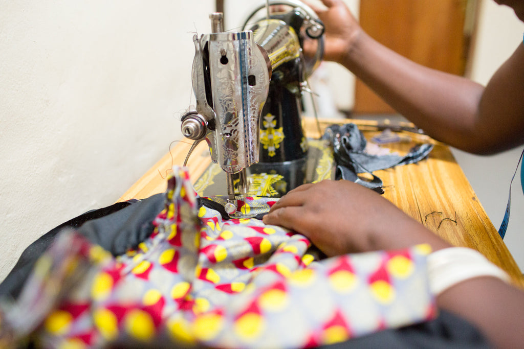 Dutch Wax African Fabric on a Sewing Machine