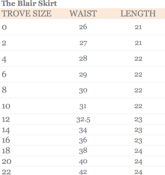 The Blair Skirt Size Chart