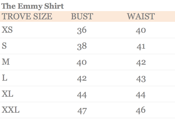 Size Chart | The Emmy Shirt