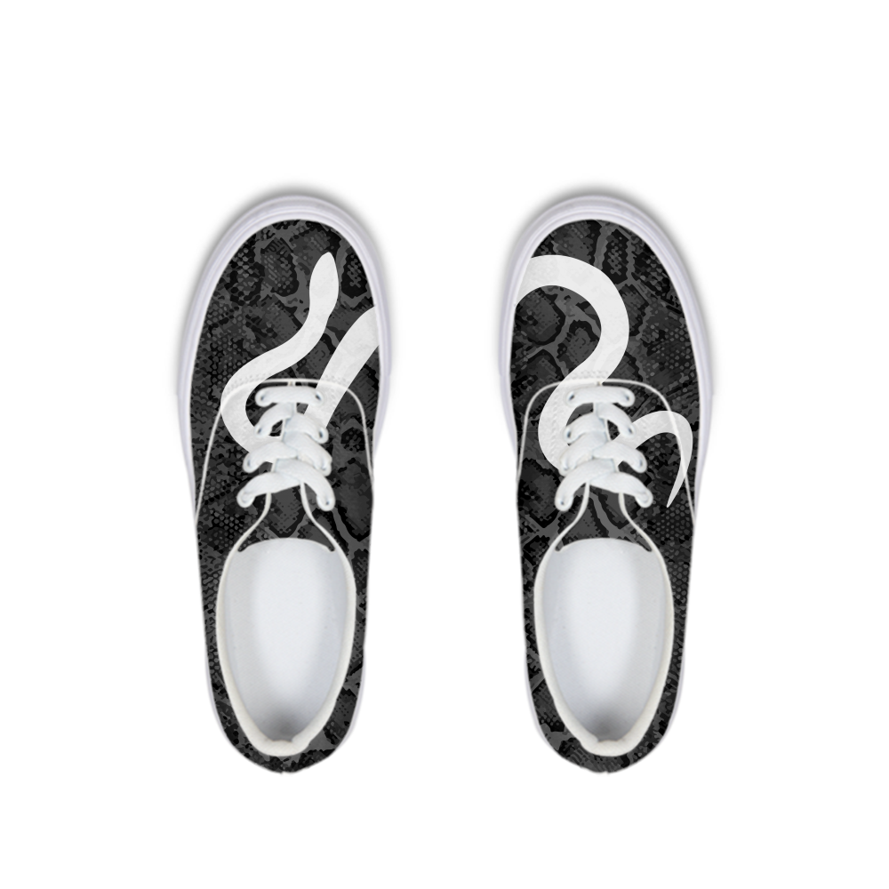 Black Snakeskin Lace Up Canvas Shoe