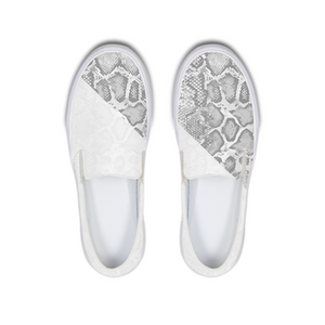 White Snakeskin Slip-On Canvas Shoe