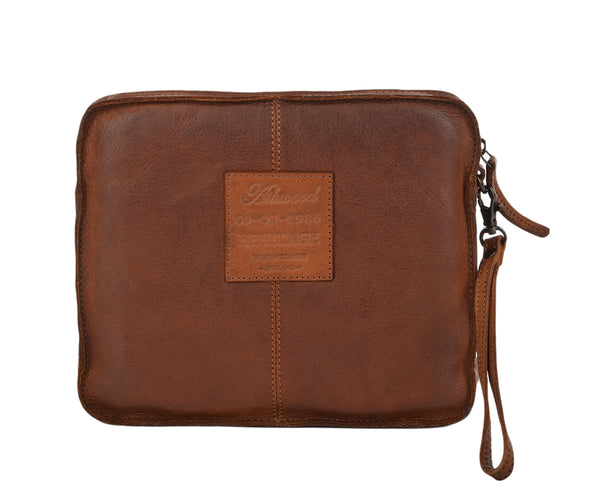 7991- Vintage Leather Tablet Sleeve Clutch Bag