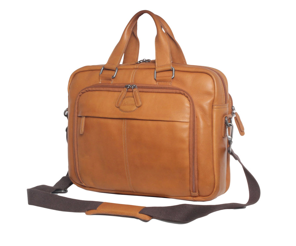 8143 - Leather Laptop Briefcase Tan