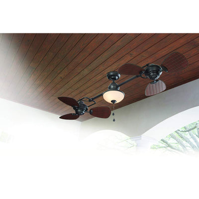 Harbor Breeze Twin breeze 74-in Oil rubbed bronze Indoor/Outdoor Downrod Mount Ceiling Fan with Light Kit