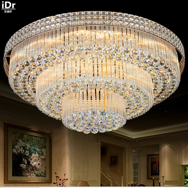 Golden Circular living room lamp crystal lamp