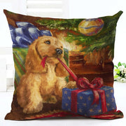 Merry Christmas Santa Claus Dog Letter Cushion Cover