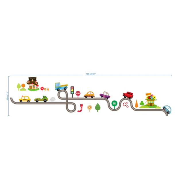 Cartoon Cars Highway Track Wall Stickers