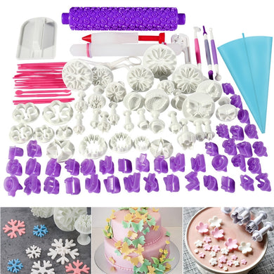 94pcs Fondant Cake Cutter Mold - Icing Decorating Flower Embossing Mold Tools