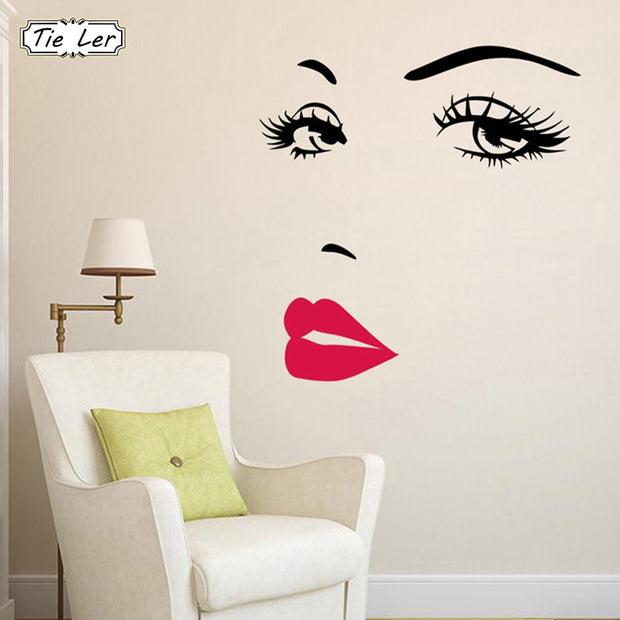 Sexy Girl Lip Eyes Wall Stickers