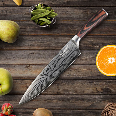 Professional 8'' inch Chef Knife Japanese Stainless Steel Sanding Laser Pattern Knives Sharp Blade Knife Cooking Tools