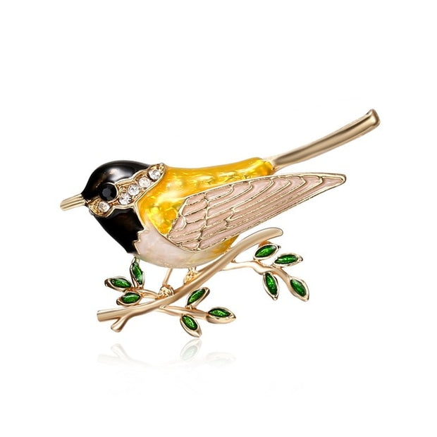 Oriole Bird Branch Brooch Pins